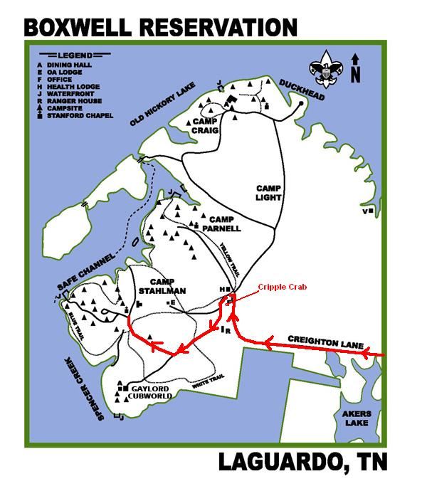 Camping In Tennessee Map.Map To Camp Stahlman Boxwell Scout Reservation Boy Scout Troop